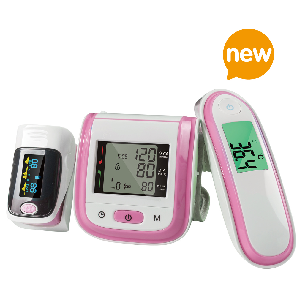 Yongrow Fingertip Pulse Oximeter & Wrist Blood Pressure Monitor & Infrared Body Thermometer With Health Care (Multi-Colors)