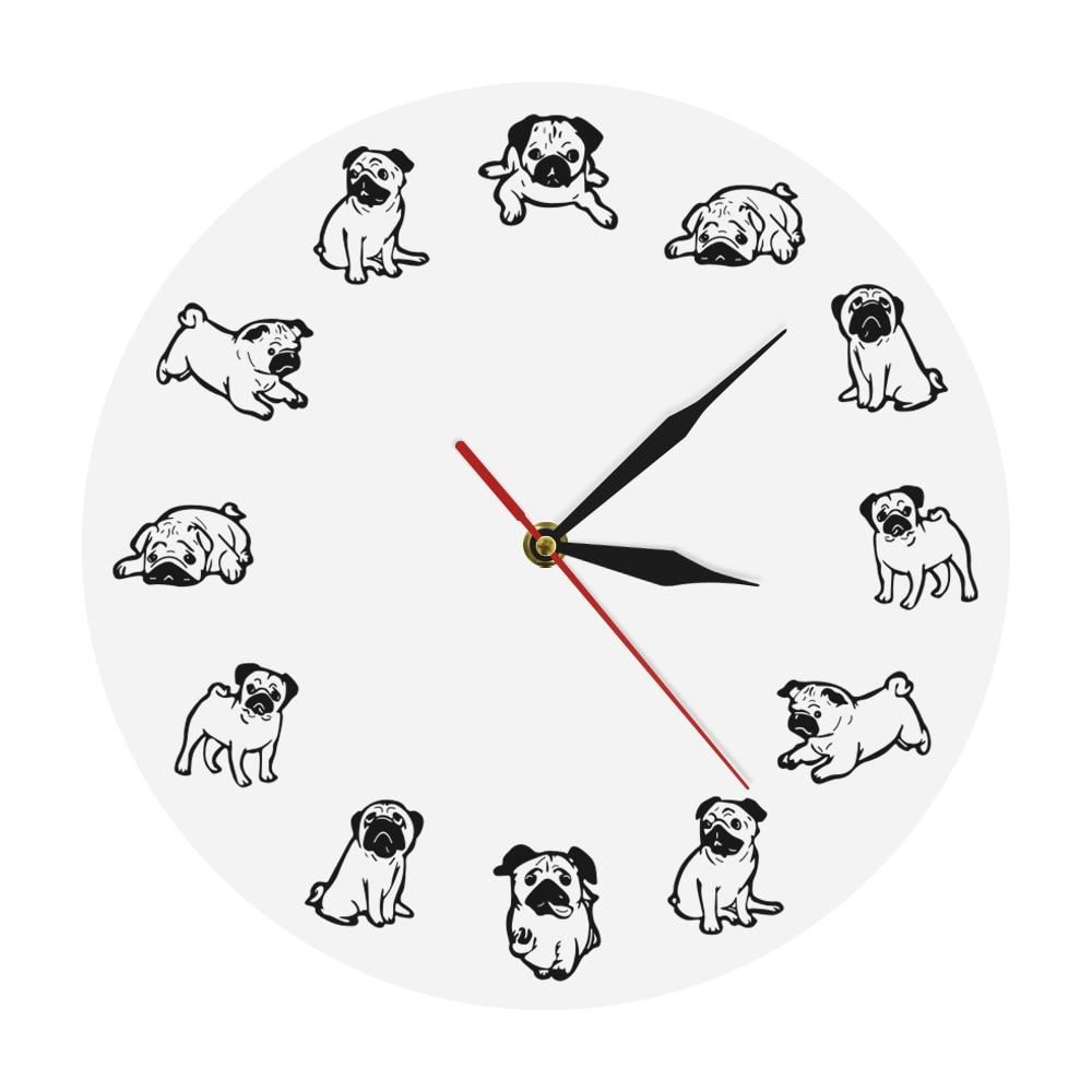 Puppy Breed Cartoon Humor Wall Clock Funny Pug Dog Art Print Modern Wall Clock Vet Office Veterinarian Decor Dog Pet Owner Gift