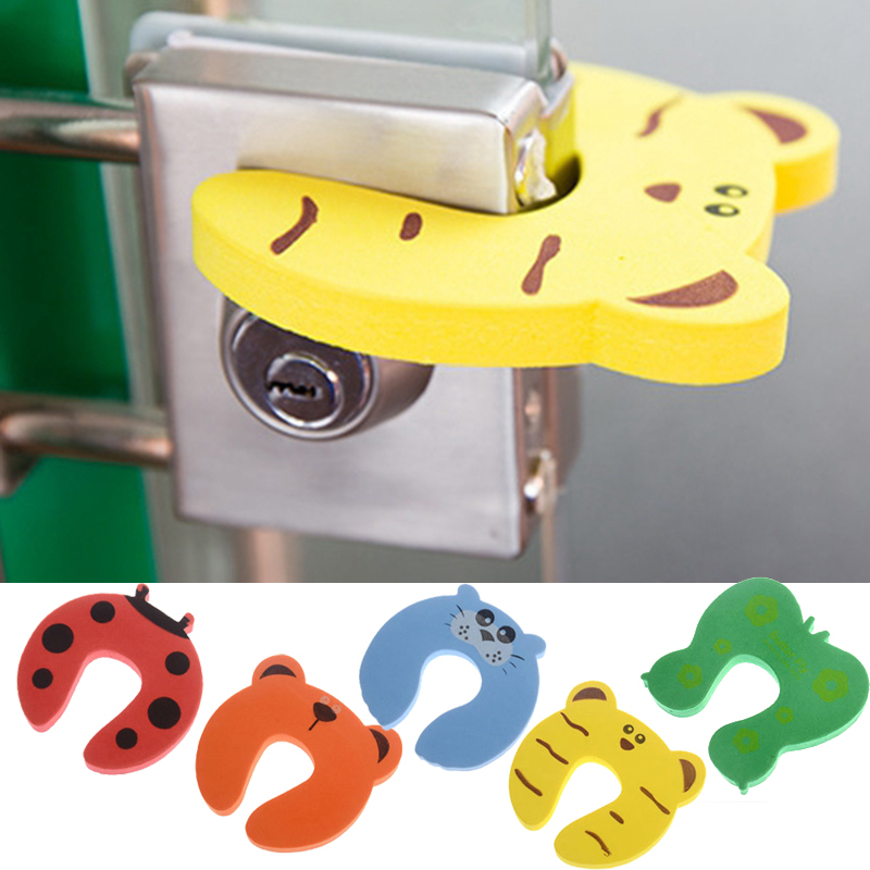 New 5pcs Door Stopper Cartoon Animal Baby Security Card Protection Tools Baby Safety Gate Products For Newborn Care Color Random