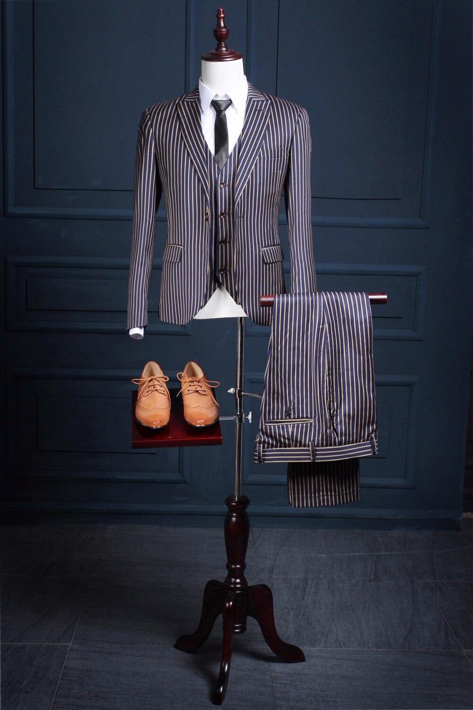 2017 Latest Coat Pant Designs Navy Blue Pattern Stripes font b Men b font font b