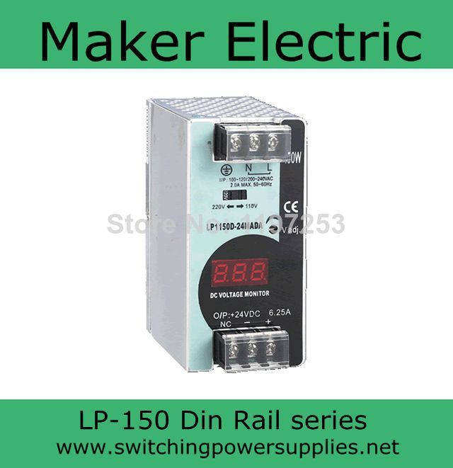 150W 24V 10A power din rail 24 LP-150-24 6.25A switching power supply arlight блок питания hts 150 24 fa 24v 6 5a 150w