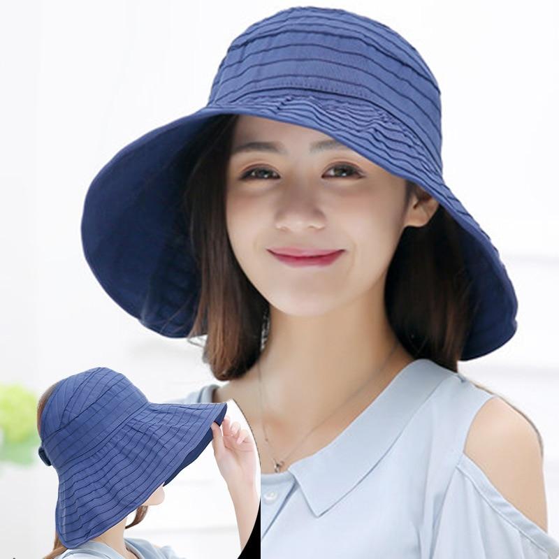 Шляпа от солнца с широкими полями женская, однотонная пляжная шапка для улицы, полосатая дышащая Кепка с защитой от ультрафиолета, Повседне...