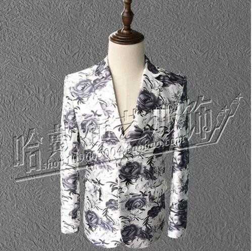S-5XL 2017 New (suit+pants) Men's clothing singer DJ bigbang GD printing suits plus size male Stage costume formal dress VSTINUS