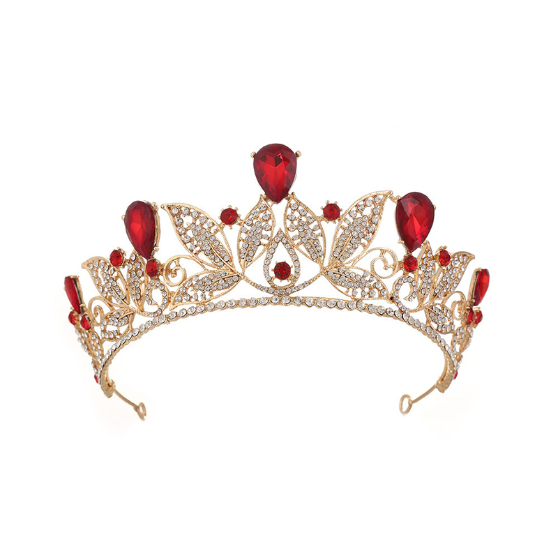 Charm Gold Leaf Tiara Women Vintage Hair Jewelry Red Green Blue Crystal Crowns Wedding Bride Accessory Hairband Head Band ML695