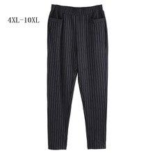 4XL 6XL 10XL ストレッチハイウエストストライプパンツオフィスレディースタイル作業摩耗のズボンの女性服ビジネス