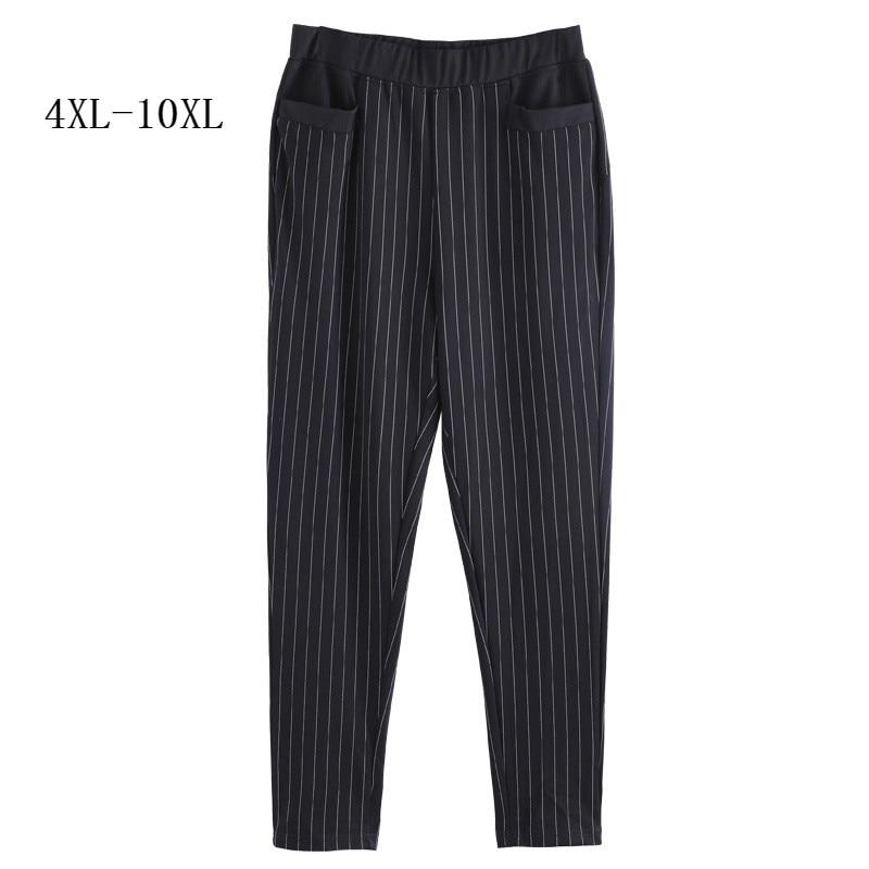 Women Plus Size 4XL 6XL 8XL 10XL Stretch High Waist Striped Pants Office Lady Style Work Wear Trousers Female Clothing Business