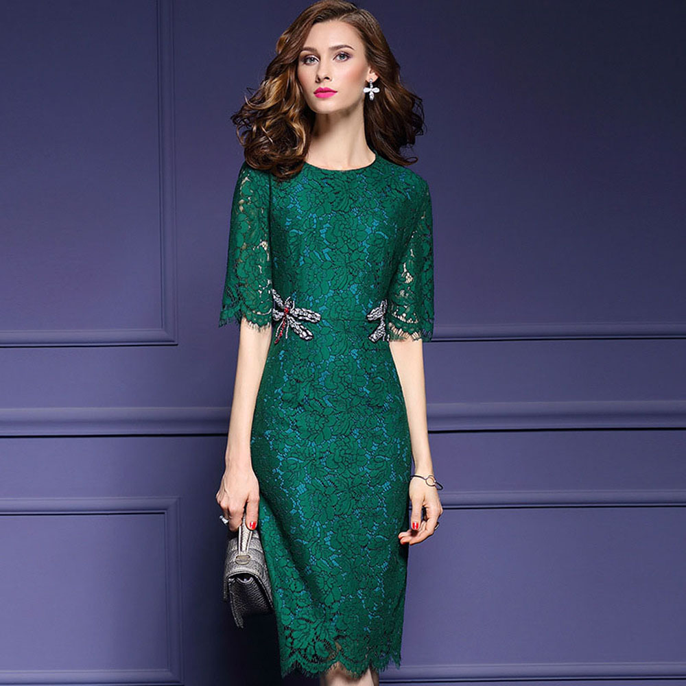 869cbfb53 Mulheres midi vestido de renda 2017 outono meia manga verde preto elegante  escritório vestido de noite vestidos de festa lápis fino do vintage em de  no ...
