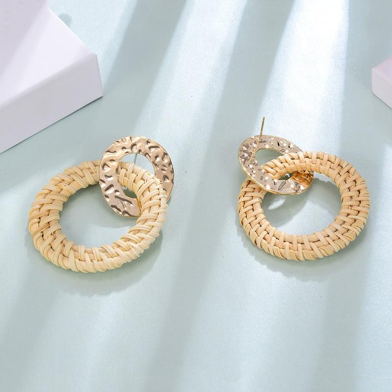 Big Circle Girls Earrings Summer Weaved Metal Accessories Gold Jewelry Statement Women Drip Earrings Bohemia Vintage Dangler in Drop Earrings from Jewelry Accessories