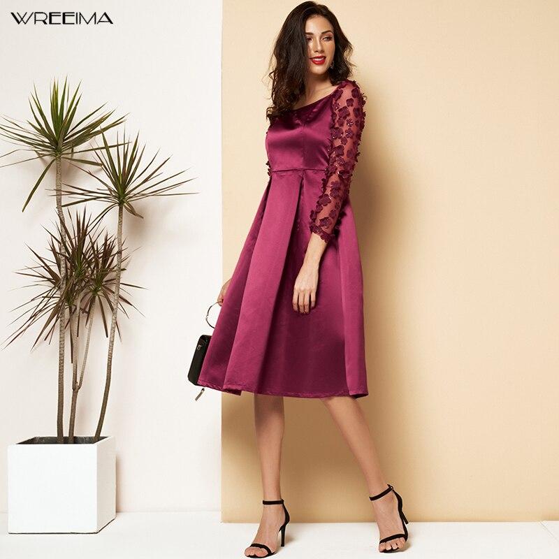 Guirlande vin rouge contraste maille Appliques plissée col carré genou longueur robe d'été moderne dame vêtements de travail femmes robes