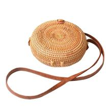 Handmade Rattan Straw Bag Woven Bohemia Round Beach Bags Vintage Fashion Arc Small Circular For Women