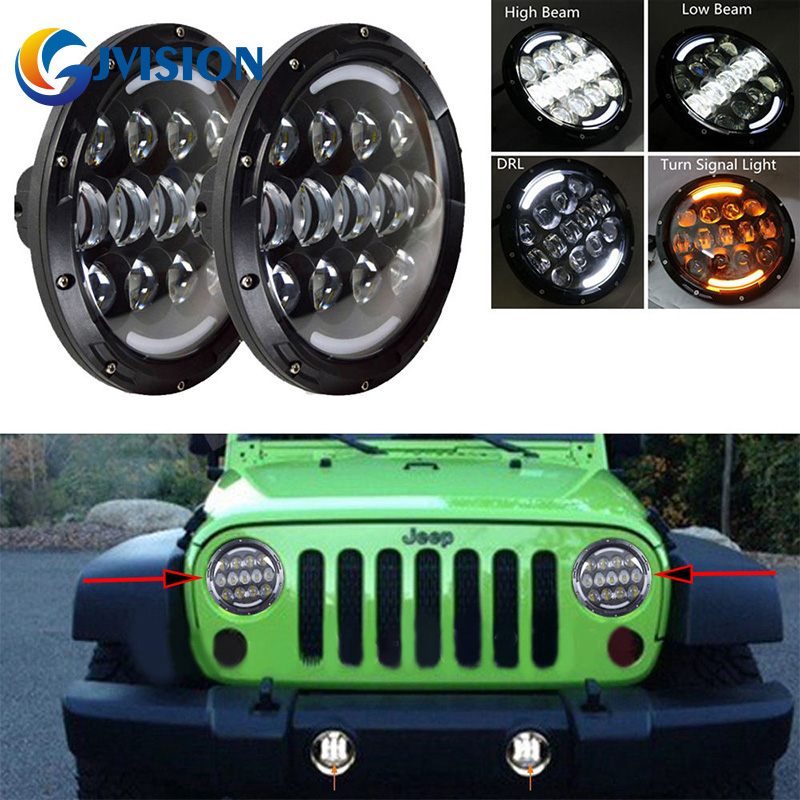 2 PCS 105W Wrangler led headlight 7'' inch led headlamp HI/LO Muti-Beam DRL & Amber Turn signal Lights for Jeep JK TJ 1pcs 7 80w headlamp led headlight with drl for jeep wrangler jk tj fj harley off road lights high low beam new free shipping
