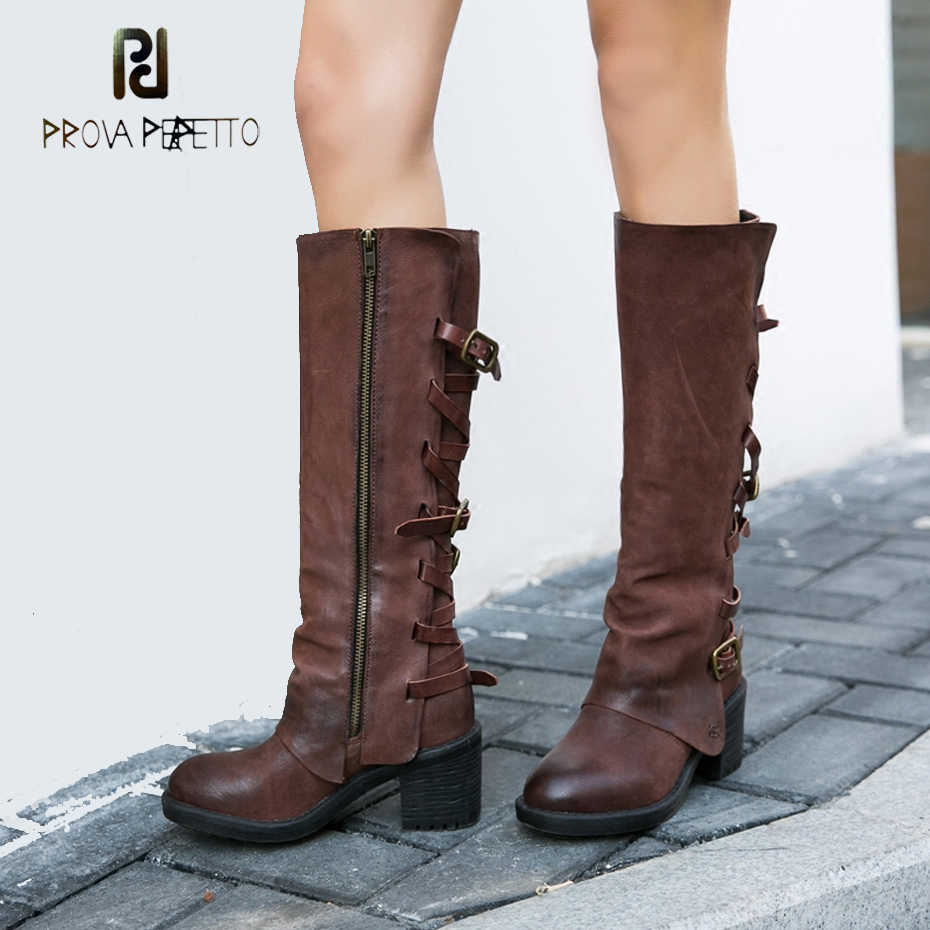 8bc0dd90aef8 Prova Perfetto Genuine Leather Do Old Women Knee High Boots Cross Belt  Buckle Thick Bottom Side