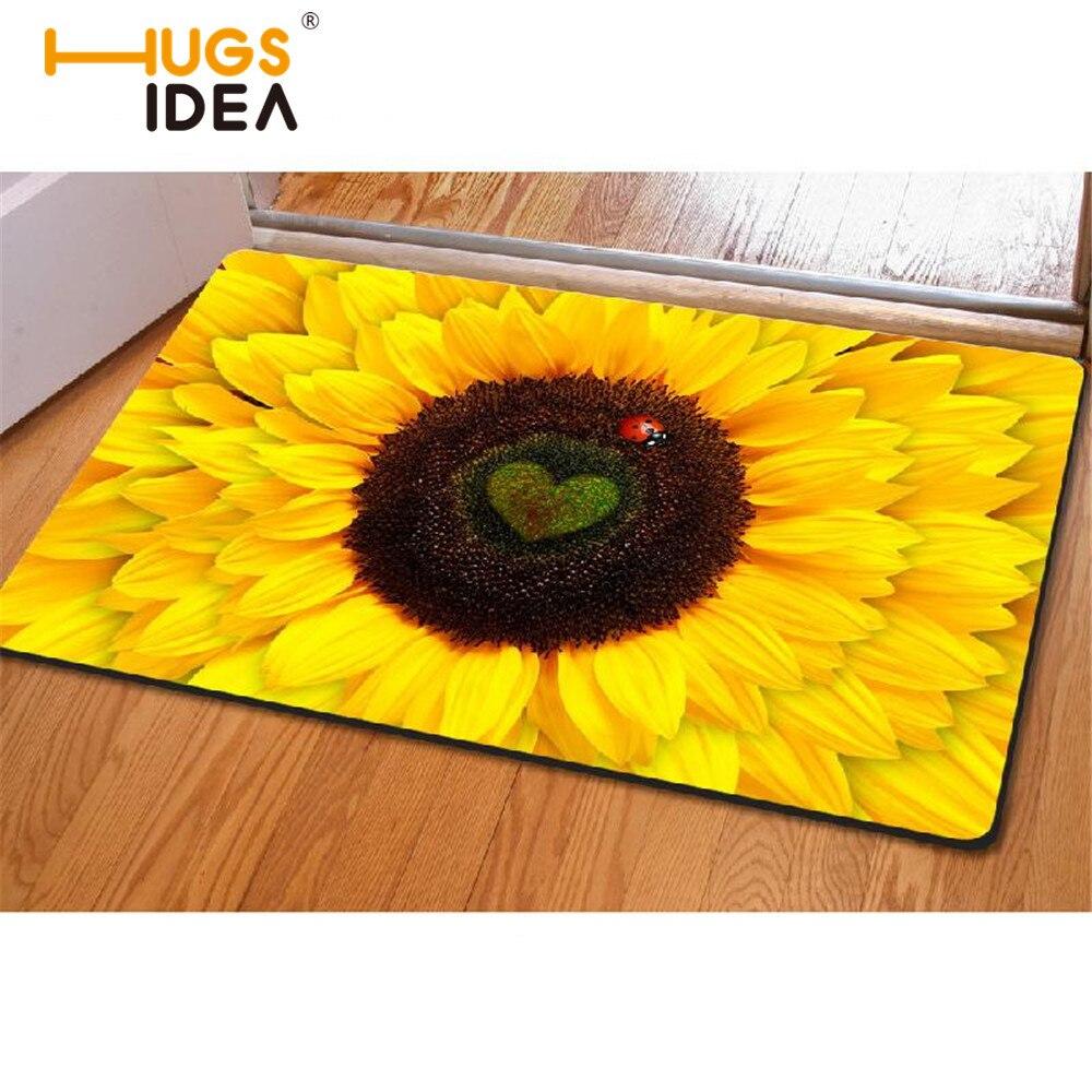 Fashion Bedroom Floor Mats Slip Resistant Entrance Carpets Pad Sunflower Cute Cat Print Horse Kitchen