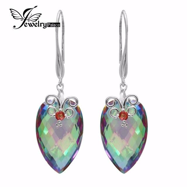 Arco Iris de Fuego Mystic Topaz 23ct Natural Granate Pendientes de Gota Cuelga Genuino Plata de Ley 925 Mujeres Joyería Fina Tablero de Ajedrez
