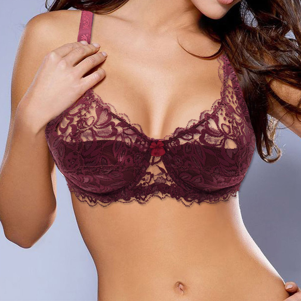 Sexy Lace Bra Plus size A B C D Cup Underwire Gather Adjustment Plunge Lingerie  Bras For Women Embroidery Underwear BH Top 1