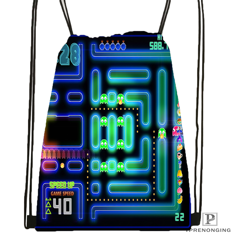 CustomPacman Gamer Nerd Style  Drawstring Backpack Bag Cute Daypack Kids Satchel (Black Back) 31x40cm#180531-02-58