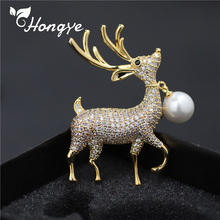 Hongye Natural Freshwater Pearl Brooches for Women Gold/Silver Adorable Deer Fashion Jewelry Dress Accessories Animal Brooch Pin