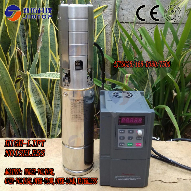 (MODEL 4JTSC25/168-D380/7500)JINTOP SOLAR PUMP submersible pump irrigation solar well water pump permanent magnet synchronous 3 years guarantee solar irrigation pump submersible solar pumps