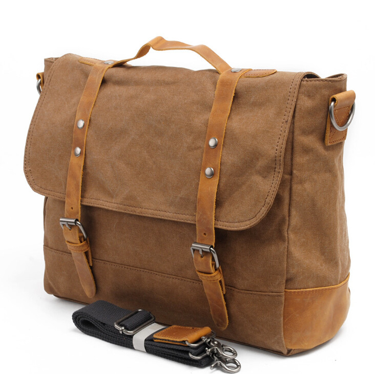 Canvas Leather Crossbody Bag Men briefcase Military Army Vintage Messenger Bags Shoulder Bag Casual Travel Bags