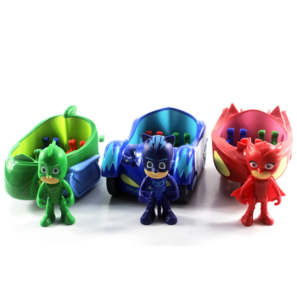 3pcs 3.5 Doll With 6-7 inch Car Pj Characters Catboy Gekko Cloak Action Figure Freddy Toys Boy Plastic Brinquedos 6 kinds cartoon pj masks party watch characters catboy owlette gekko cloak masks action figure toys vinyl doll girls toy gift