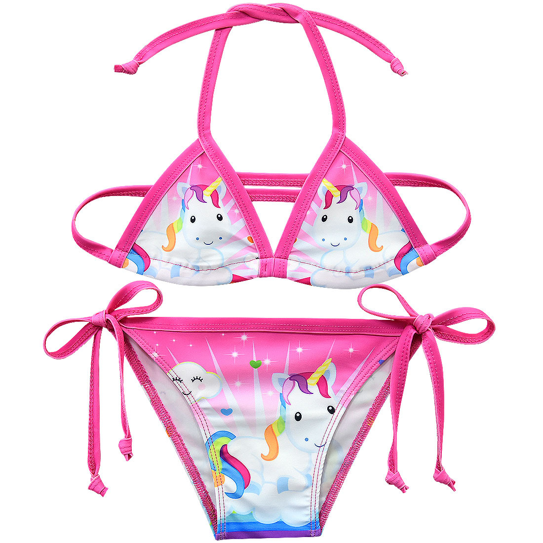 Girls Swimsuit Bikini-Set Beachwear Unicorn Two-Piece G48-8076 3-12-Years title=