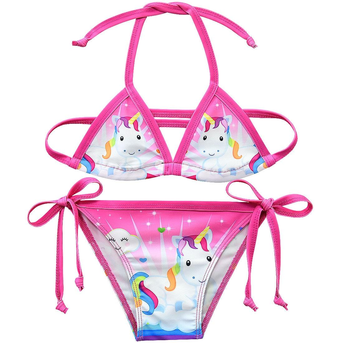 2019 Unicorn Girls Swimsuit 3-12 Years Two Piece Children's Swimwear Girls Bikini Set Unicorn Beachwear G48-8076