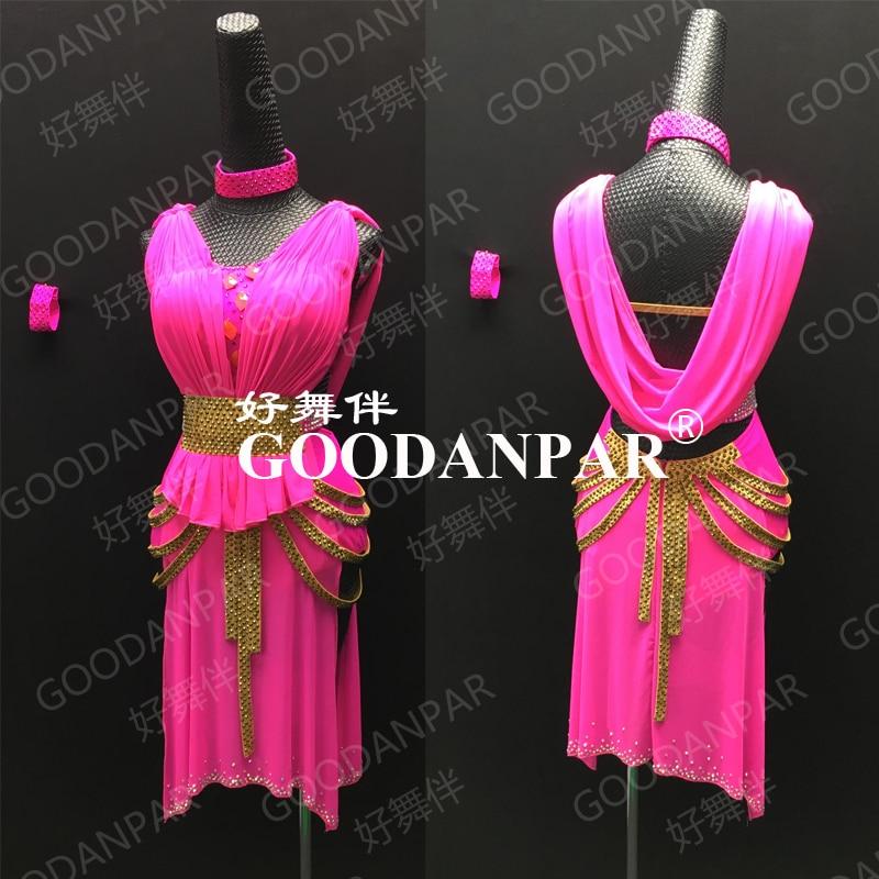 Dance Dress  Latin Dance Costume Latin Dancing Dress Sheer Fabric Sexy  Latin Costume Hot Pink Cha Cha