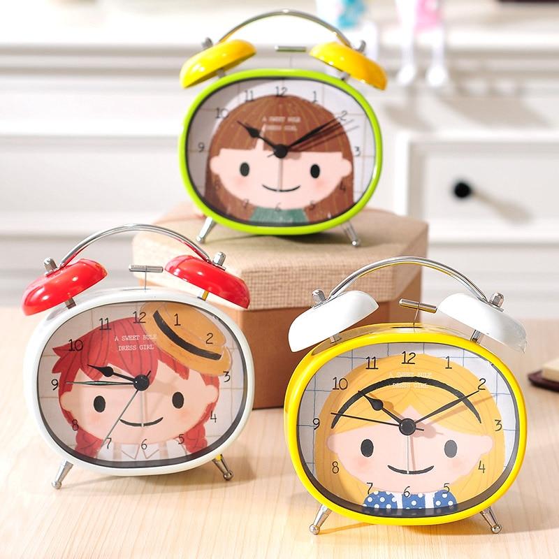 Cute Cartoon Metal Alarm Clock Home Bedroom Bedside Table Clock Creative Student Desktop Clock Decorations Ornaments Watches
