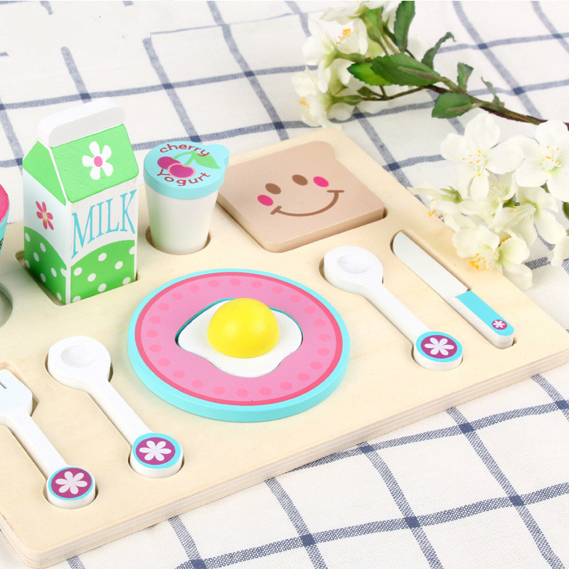 Wooden Play House Toy Children Simulation Wooden Toys Pretend Play House Toy Breakfast Combination Kitchen Toys Gift For Kids