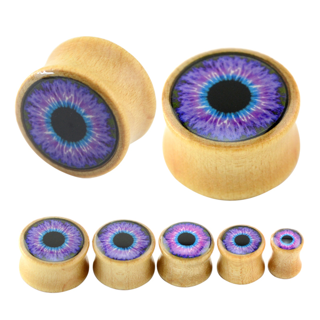 8 18mm Eye Pattern Organic Gauges Wooden And Plugs Natural Cool Flesh Tunnel