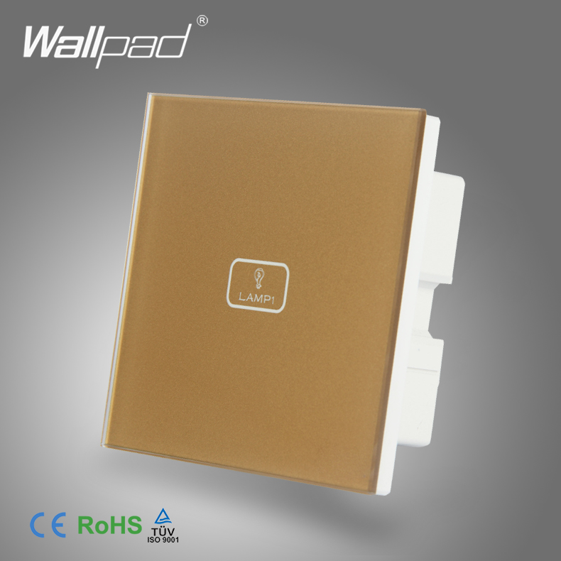 BS CE Approved Wallpad Gold Temepred Glass Switch 1 Gang Electric Touch Screen Sensor Smart Home Light Switch PanelBS CE Approved Wallpad Gold Temepred Glass Switch 1 Gang Electric Touch Screen Sensor Smart Home Light Switch Panel