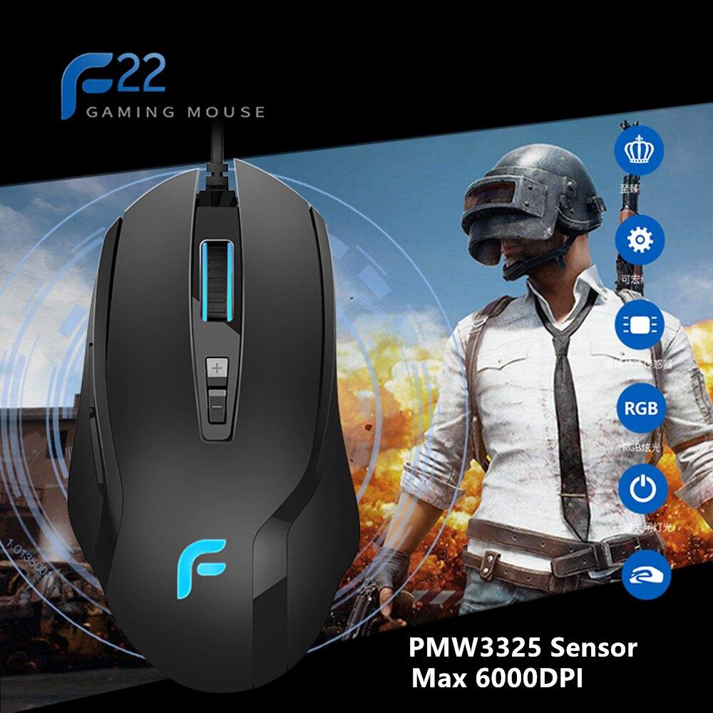 Новый dearmo F22 Профессиональный Проводная игровая Мышь 500 до 6000 Точек на дюйм регулируемый с 7 программируемых Пуговицы для PC ноутбук
