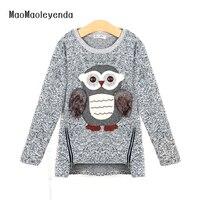 Maomaoleyenda mùa thu thời trang mới gái áo len trẻ em lông cừu lót dây kéo áo len cartoon dễ thương owl casual bé gái bông len