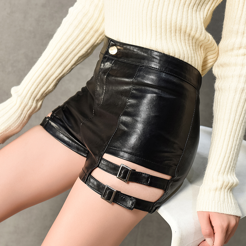 Female Sexy PU Shorts Women Leather Shorts 2018 Autumn Winter Hollow Out High Waist Shorts Slim Skinny Club Solid Black