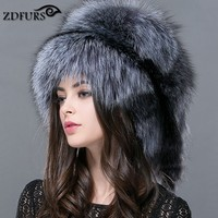ZDFURS * Autumn and winter Women 's Genuine raccoon dog russian fur hat real fox fur hat dome mongolian hat ZDH 161013