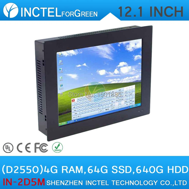12.1 Inch All-IN-One Desktop touchscreen LED Panel PC with Intel Dual Core D2550 1.86Ghz 1G RAM 8G SSD Windows8 XP 7 Preloaded