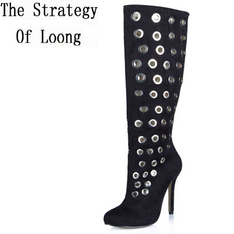 Winter Thin High Heel Women Metal Glitters Knee High Boots Woman Summer Pointed Toe Long Boots Plus Size 35-43 SXQ0511