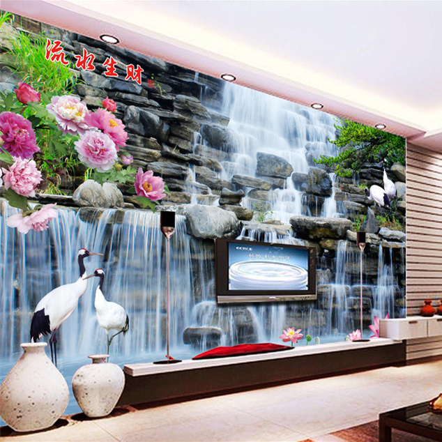 3D Study Bedroom Living Room TV Background Wallpaper Seamless Large Chinese Feng Shui Wall Mural