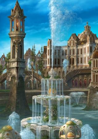 Вышивка крестиком фонтаны