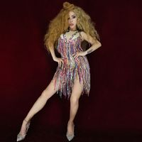 Fashion Multi color Sequined Tassel Bodysuit Women Nightclub Bar Show Stage Wear Party Female Singer Outfit Dance Costume