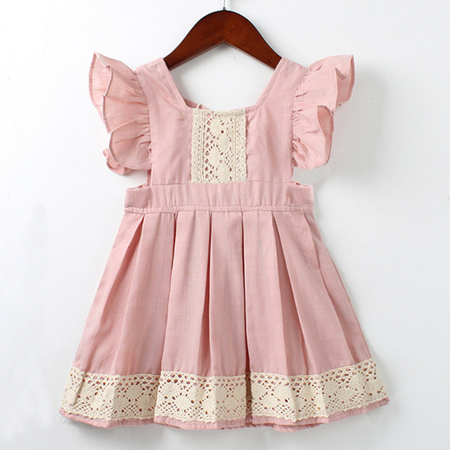 Children Casual Dress 2019 Summer Girls Flying Sleeve Pink Clothes  Party Dress  Kids girls Princess Dress 2-7Y