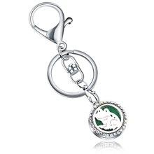 AB Frog pattern Full Rhinestone Perfume KeyChain Stainless Steel Essential Oil Diffuser Aromatherapy Locket Key Chain