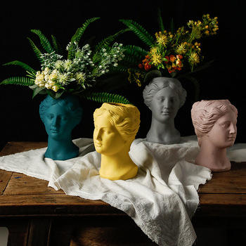 Portrait Sculpture Beauty Fairy Flower Pot Greek Goddess Lady Face Flower Arrangement Vase Cement Rough and Beautiful Home Decor