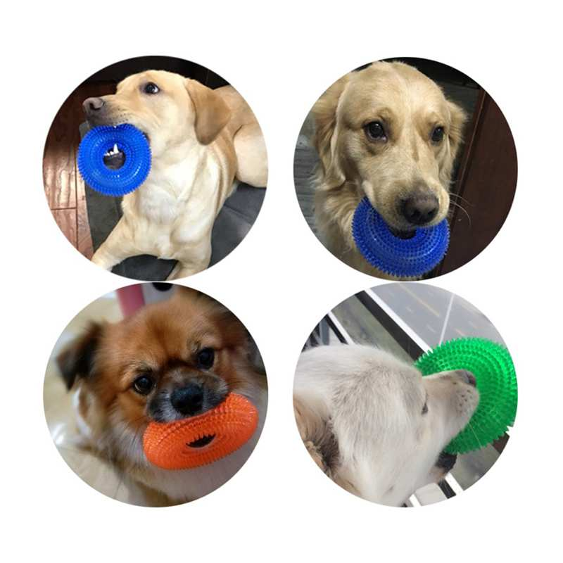 Dog Toy Chew Rubber Bell Squeaky Toys for Dog Funny Games Interactive Pacifier Bone Toy Puppy Pet Supplies