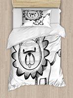 Duvet Cover Set Sketchy Baby Lion African Wildlife Character Safari Jungle Savanna Habitat Theme, 4 Piece Bedding Set