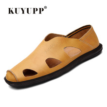 KUYUPP 2017 Fashion Sandals Comfotable Men Shoes Genuine Leather Sandal For Men Summer Fisher Shoes Sapatos Masculinos H2