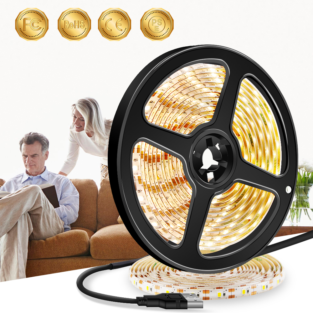 5m USB LED Strip Waterproof Flexible Tira Led Light 5V Bedroom Cinta Brillante SMD2835 Luces Neon Stair Bed Night Lamp