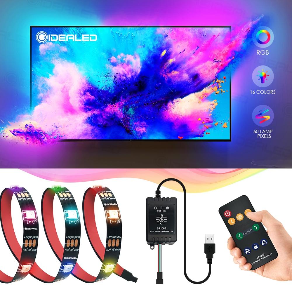 Led Strip Light 5v 150leds Sound Sensor RF Remote Color Changing Music Controller Usb For Tv Background Ribbon Ambient Light