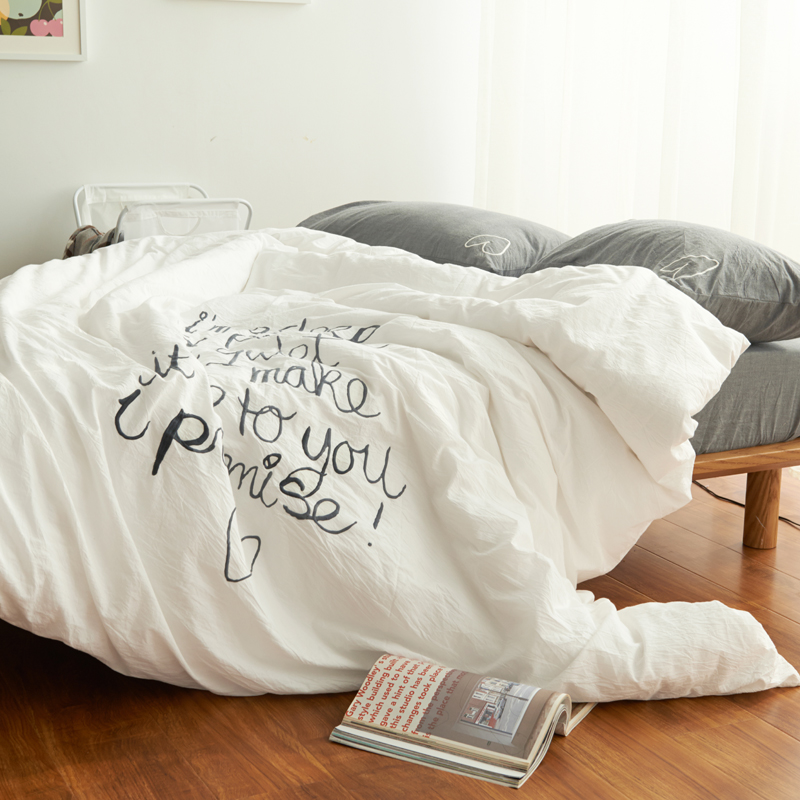 White Bed Skirt,korean Pastoral Bed Cover,Japanese Simple Partysu Wedding,4 Pcs Bedding Sets I Am Sleep Pls Be Quiet