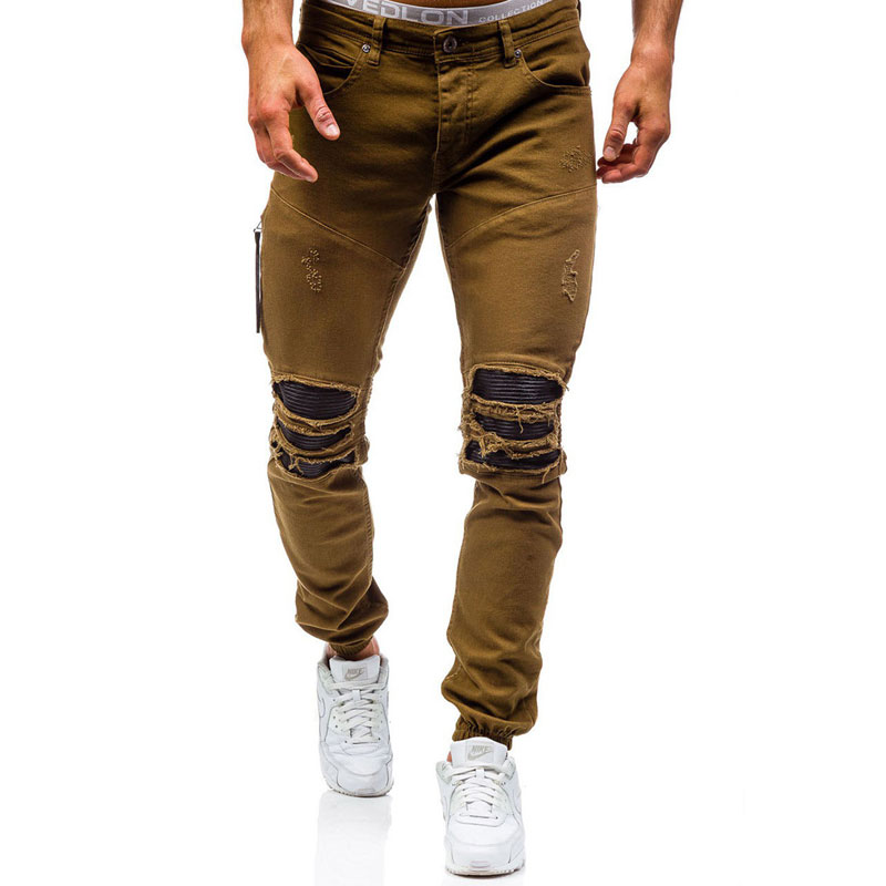 Men Hole Distressed Jeans Skinny Jeans Ripped Slim Mens Biker Jeans Fashion Trousers Medium Wash Streetwear Hip Hop Pants Jogger